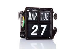 Fecha retra del calendario mecánico aislada Fotos de archivo
