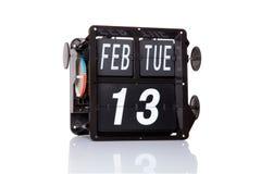 Fecha retra del calendario mecánico aislada Fotografía de archivo libre de regalías