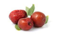 Fecha roja - fruta de la azufaifa - /Fructus Jujubae Imagen de archivo