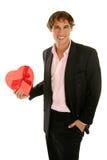 Fecha y corazón de la tarjeta del día de San Valentín Fotos de archivo libres de regalías