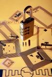 Fechamento da cifra em etiquetas do RFID imagens de stock