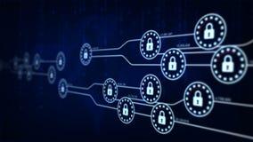 fechamento da segurança da animação 4K com linha da conexão da carga para a segurança futurista da rede da tecnologia do cyber e  ilustração stock