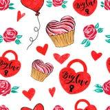 Fechamento de Valentine Seamless Hearts do marcador e teste padrão do amor Fotografia de Stock