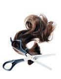 Fechamento do cabelo e das tesouras foto de stock royalty free