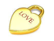 Fechamento do coração do amor do ouro Imagem de Stock