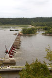 Fechamento do rio Mississípi e represa 11 Dubuque, iowa Foto de Stock