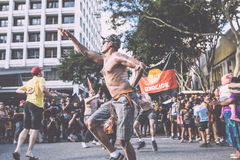 Fechamento forçado março de Brisbane Aborigional Foto de Stock Royalty Free