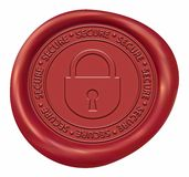 Fechamento - selo vermelho da cera do sinal seguro ilustração royalty free