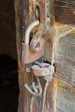 Fechamento velho com a teia de aranha Imagens de Stock Royalty Free