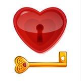 Fechamento vermelho na forma do coração Foto de Stock Royalty Free