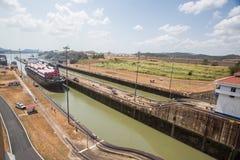 Fechamentos de Miraflores, canal de Panamá imagem de stock