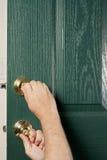 Fechamentos de porta da rua pintados verdes Fotografia de Stock Royalty Free