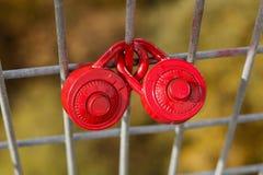 Fechamentos do amor em uma cerca imagens de stock