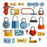 Fechamentos e cadeado isolados puxadores da porta das chaves dos objetos ilustração do vetor
