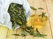 Feche acima com folhas de hortelã e copo do chá Imagens de Stock