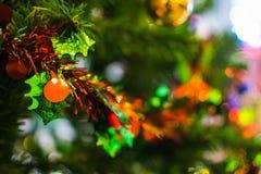 Feche acima da árvore de Natal no fundo Foto de Stock Royalty Free