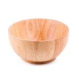 Feche acima da bacia vazia de madeira & do x28; bowl& de madeira x29; isolado no branco Fotos de Stock