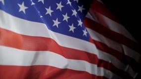 Feche acima da bandeira de Estados Unidos da América, movimento lento filme