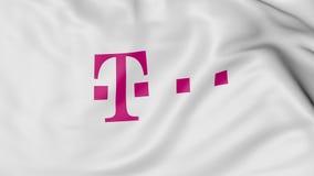 Feche acima da bandeira de ondulação com logotipo de T-Mobile, rendição 3D ilustração do vetor