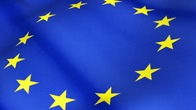 Feche acima da bandeira de ondulação da União Europeia, da estrela amarela e do fundo azul, bandeira do eu ilustração royalty free
