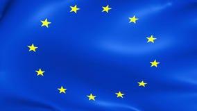 Feche acima da bandeira de ondulação da União Europeia, da estrela amarela e do fundo azul, bandeira do eu ilustração stock