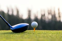 Feche acima da bola de golfe e do motorista, jogador que faz o T do balanço do golfe fora no tempo verde da noite do por do sol, foto de stock royalty free