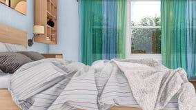 Feche acima da cama de casal no quarto 3D interior Imagens de Stock