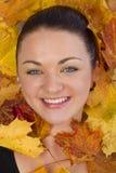 Feche acima da cara da mulher nas folhas de outono fotos de stock