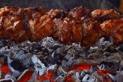 Feche acima da carne shish sobre a grade do carvão animal Imagem de Stock