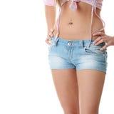 Feche acima da cintura de uma mulher bonita Fotografia de Stock Royalty Free