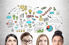 Feche acima da equipe do negócio, esboço colorido da ideia Foto de Stock