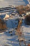 Feche acima da estrutura aérea do salto de esqui da mina de prata Foto de Stock