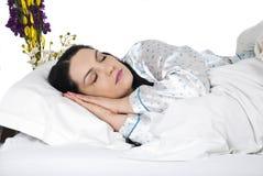Feche acima da face da mulher do sono Fotos de Stock Royalty Free
