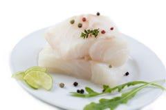 Feche acima da faixa de peixes crua fresca do bacalhau em uma placa com salsa e fundo branco isolado limão imagem de stock royalty free