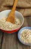 Feche acima da farinha de aveia seca em dois pratos Imagens de Stock