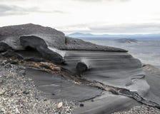 Feche acima da formação eólia em Askja, montanhas de Islândia, Europa fotos de stock