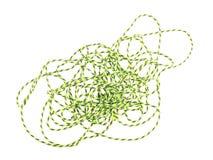 Feche acima da foto da corda verde ou da guita em um fundo branco Imagem de Stock Royalty Free