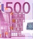 Feche acima da foto de uma parte de cinco cem euro, tiro macro ilustração do vetor