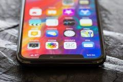 Feche acima da foto do iPhoneX o mais atrasado da geração Imagem de Stock Royalty Free