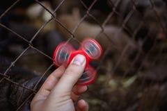 Feche acima da foto da mão com o girador vermelho da inquietação fotos de stock royalty free