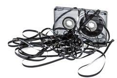Feche acima da gaveta de cassete áudio do vintage, isolado no branco, com Foto de Stock Royalty Free