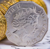 Feche acima da ideia da moeda australiana Fotos de Stock Royalty Free