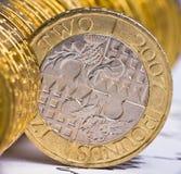Feche acima da ideia da moeda britânica Fotografia de Stock Royalty Free