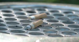 Feche acima da ideia da ponta de cigarro no escaninho FS700 4K vídeos de arquivo