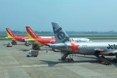 Feche acima da ideia de uma área de aterrissagem de Noi Bai International Airport na capital de Hanoi Fotos de Stock