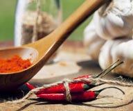 Feche acima da imagem de muitas pimentas encarnados e picante, g Fotografia de Stock Royalty Free