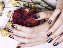 Feche acima da imagem de pregos do tratamento de mãos com flor seca imagem de stock royalty free
