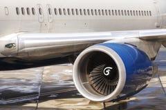 Feche acima da imagem de um motor de um avião do passageiro Fotografia de Stock Royalty Free