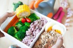 Feche acima da lancheira, do arroz, do peito de frango, do ovo cozido e do vegetab imagem de stock royalty free