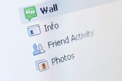 Feche acima da lista de atividade social Imagem de Stock
